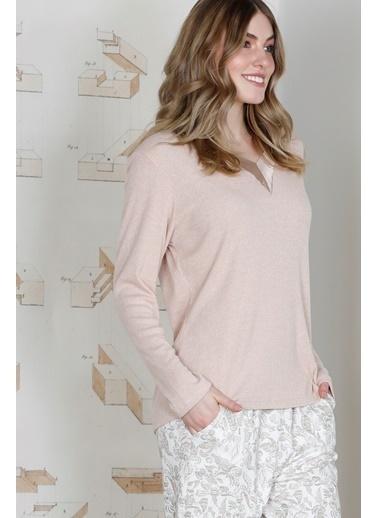 Hays Plus Size Saten Yaka Detaylı Triko Üst Penye Alt Pijama Takımı Pembe